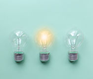 Three glass bulbs for lamps - idea concept Stock Photography