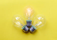 Three glass bulbs for lamps - idea concept Royalty Free Stock Photography