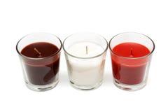 Three glass candlesticks Stock Image