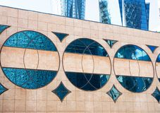 Three glass circles on the wall. Building exterior royalty free stock images