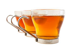 Three glass cups of tea Royalty Free Stock Photography