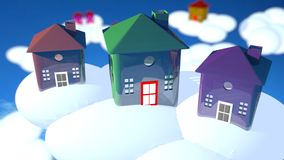 Three glass houses over the clouds. Three houses in glass texture, different colors, purple green and brown, some other houses in the back out of focus stock illustration