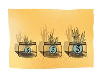 Three glass jars with dollar coins from which grow young shoots of plants. Investments.  vector illustration