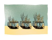 Three glass jars with dollar coins from which grow young shoots of plants. Investments.  stock illustration