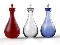 Three glass perfume or medicine bottles Royalty Free Stock Photo