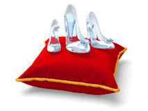 Three glass slippers. Of different size. Woman's day concept Stock Image