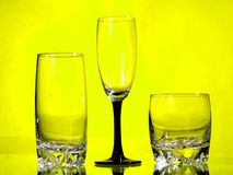 Three glasses. On a yellow background Stock Image