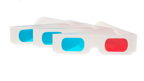 Three Glasses. Paper 3D anaglyph glasses isolated in white background stock image
