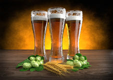 Three glasses of beer with barley and hops - 3D render Royalty Free Stock Photography
