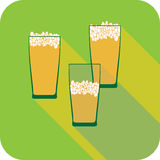 Three glasses beer flat design stylized  party drink icon Stock Photography