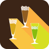 Three glasses beer flat design stylized  party drink icon Stock Images