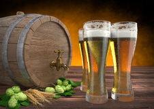 Three glasses of beer with keg, barley and hops. 3D render Royalty Free Stock Photo