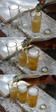 Three glasses of beer is poured Stock Images