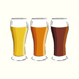 Three glasses of beer Royalty Free Stock Photos