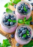 Blueberry yogurt with blueberries and mint. Three glasses of blueberry yogurt with blueberries on a wooden board and light stone background. High angle view Royalty Free Stock Image