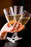 Three glasses of champagne Royalty Free Stock Photography