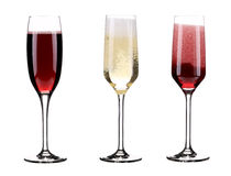 Three glasses of champagne. Stock Photo