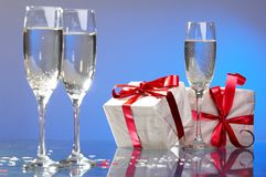 Three glasses with champagne Royalty Free Stock Photos