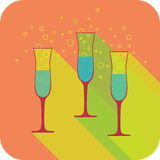 Three glasses champagne flat design stylized  party drink icon Royalty Free Stock Images