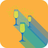 Three glasses champagne flat design stylized  party drink icon Stock Image