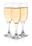 Three glasses of champagne  Stock Photos