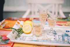 Three glasses with citrus drinks on a tray. Next is sliced lemon and rosemary royalty free stock photos