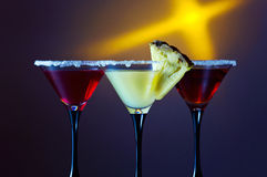 Three glasses with a cocktail Royalty Free Stock Images