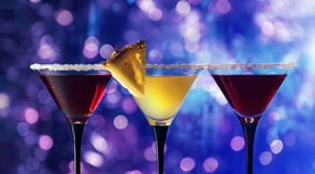 Three glasses with a cocktail Stock Images