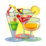 Three glasses with cocktail Stock Photography