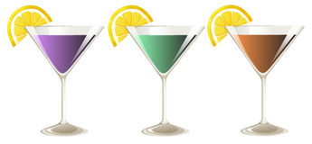 Three glasses of cocktail drinks Royalty Free Stock Images