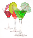 Three glasses of cocktails. On a white background Stock Image