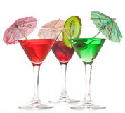 Three glasses of cocktails Stock Photography