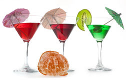 Three glasses of cocktails Royalty Free Stock Photo