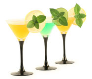 Three glasses with cocktails. Royalty Free Stock Photography