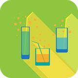Three glasses cocktails flat design stylized  party drink icon Royalty Free Stock Photography