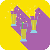 Three glasses cocktails flat design stylized  party drink icon Royalty Free Stock Photo