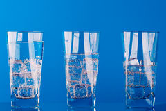 Three glasses with cold water Stock Photography