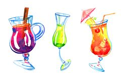 Three glasses of different alcohol drinks. Watercolor hand drawn sketch illustration stock illustration