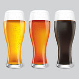 Three Glasses of different beer. stock illustration