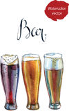 Three glasses with different beers Royalty Free Stock Photography