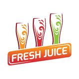 Three glasses with different juice, red, orange, green Royalty Free Stock Photos
