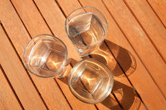 Three glasses filled with water Stock Photography