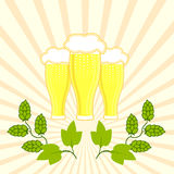 Three glasses of fresh beer with foam hat with branches of hops Royalty Free Stock Photography