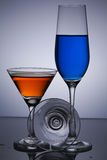Three glasses  on gray background. Life is like a wine Stock Photos