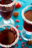 Three glasses of hot mulled wine with pomegranate seeds and spices Stock Photography