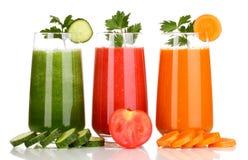 Three glasses of juice. Royalty Free Stock Photo