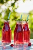 Three glasses of lemonade with raspberries Stock Photography