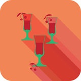 Three glasses liqueur flat design stylized  party drink icon Royalty Free Stock Photos