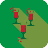 Three glasses liqueur flat design stylized  party drink icon Stock Photos