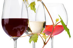 Three Glasses Of Wine Stock Photos